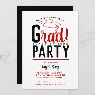 Scarlet and Black Graduation Party Invitations
