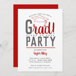 Scarlet and Gray Graduation Party Invitations