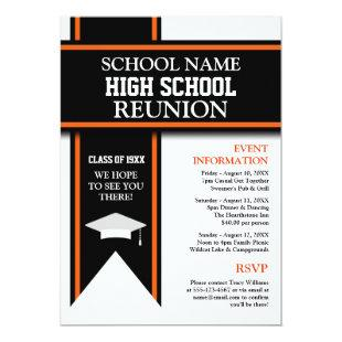 School Colors Banner Custom Class Reunion Invitation