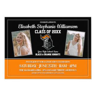School Colors Black and Orange Graduation Party Invitation