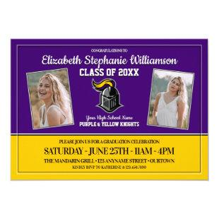 School Colors Purple and Yellow Graduation Party Invitation