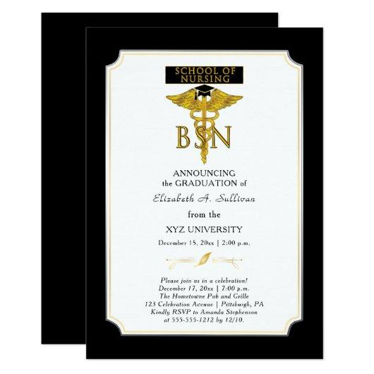 School of Nursing Nurse BSN Graduation Invitation