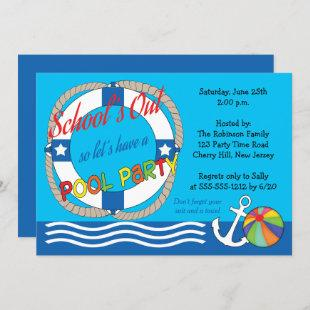 Schools Out End of School Pool Party Invitation