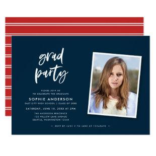 Script Blue and Red Photo Graduation Party Invitation