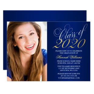 Script Blue Gold Photo Graduation Announcement