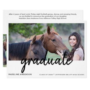Script Graduation 2-Sided Photo Party Invitation