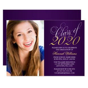 Script Purple Gold Photo Graduation Announcement