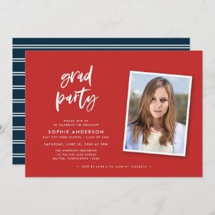 Script Red and Blue Photo Graduation Party Invitation