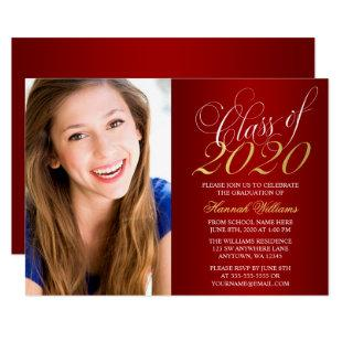 Script Red Gold Photo Graduation Announcement