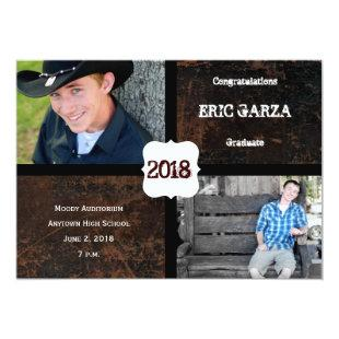 Scuffed Leather Look Photo Graduation Announcement