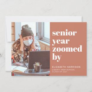 Senior Year Zoomed By Photo Terracota Graduation Announcement