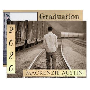 Sepia Gold Graduation | Sophisticated Script Photo Invitation