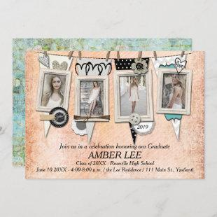 Shabby Chic Photo Graduation Party Invitation