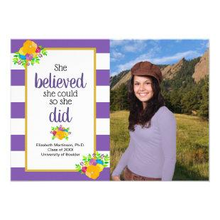 She Believed She Could Graduation Party Photo Invitation