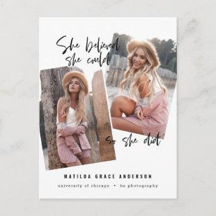 She believed she could so she did graduation postcard