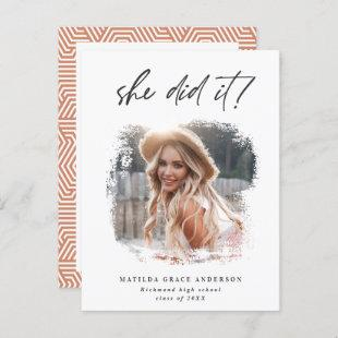 She did it geometric photo graduation party invite