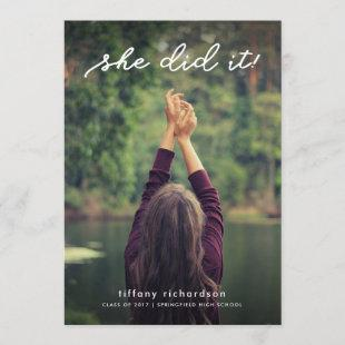She Did It | Graduation Party Invite with Photo