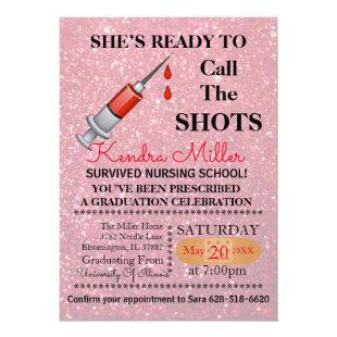She's Ready To Call The Shots Nursing Graduation Invitation