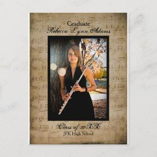 Sheet Music Graduation Announcement - Post Card