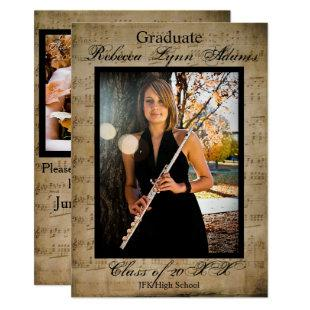 Sheet Music Graduation Announcement with Photos