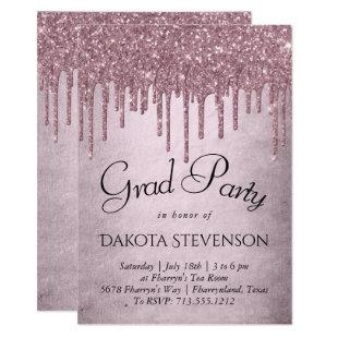 Shimmer Drip Grad Party | Dusty Pink Icing Script Invitation