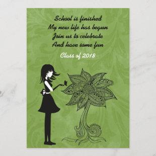 Silhouette Girl, Butterfly and Flower Graduation