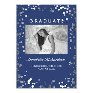 Silver Confetti Navy Blue Elegant Photo Graduation Invitation