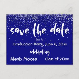 Silver Confetti Navy Graduation Party Save Date Announcement Postcard