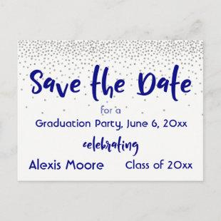 Silver Confetti Navy Save the Date Graduation Date Announcement Postcard