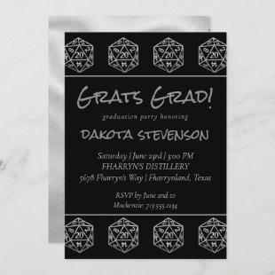 Silver D20 | PNP Tabletop Role Player Graduation Invitation