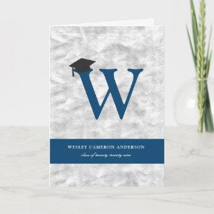 Silver Foil Monogram Alphabet Modern Photo Grad Invitation