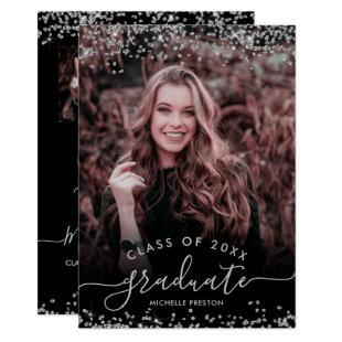 Silver glitter confetti 3 photo graduation invitation