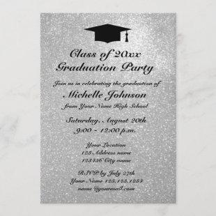 Silver glitter graduation party invitations