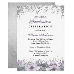 Silver Glitter Purple Floral Graduation Party Invitation