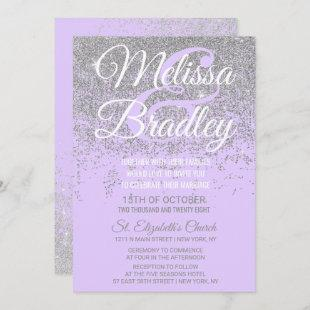Silver Glitter Sparkles Lavender Purple Wedding Invitation