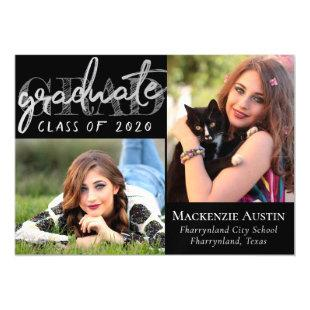 Silver Graduate | Trendy Platinum and Black Photo Magnetic Invitation