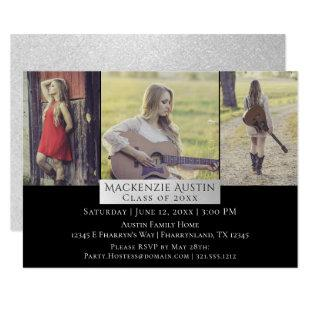 Silver Graduation | Chic Grad Triple 3 Photo Party Invitation