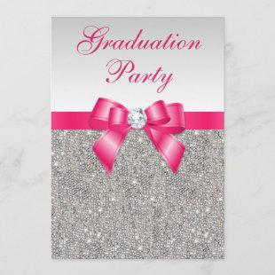 Silver Jewels Hot Pink Bow Girls Graduation Party Invitation