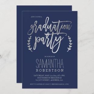 Silver typography navy blue graduation party invitation