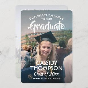 Simple 2 Photo Overlay Modern Elegant Graduation Announcement
