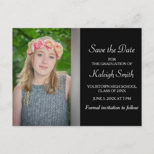 Simple Black and Yellow Graduation Save the Date Announcement Postcard
