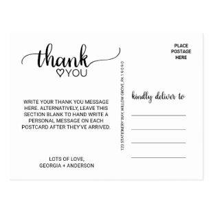 Simple Black Calligraphy Thank You Postcard