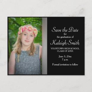 Simple Black Graduation Save the Date Announcement Postcard