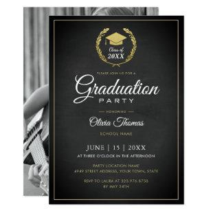 Simple Chic Photo Graduation Party Invite Card
