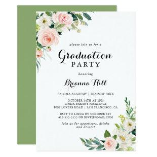 Simple Floral Green Calligraphy Graduation Party Invitation
