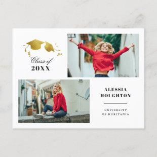 Simple Gold Graduation Caps Photo Graduation Party Invitation Postcard