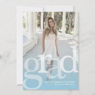 Simple GRAD Overlay ANY Year Blue Graduation Announcement