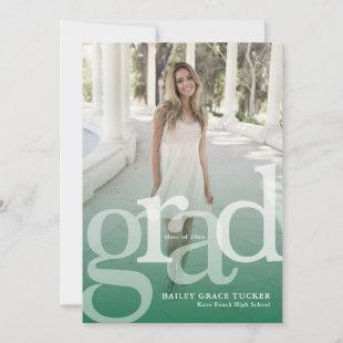 Simple GRAD Overlay ANY Year Green Graduation Announcement