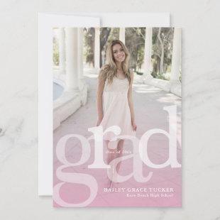 Simple GRAD Overlay ANY Year Pink Graduation Announcement