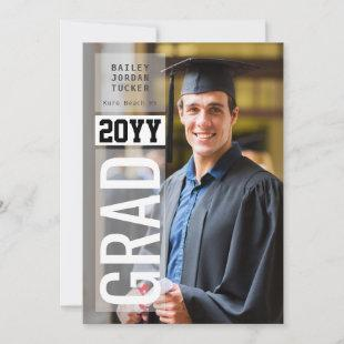 Simple GRAD Side Overlay Black ANY Year Graduation Announcement